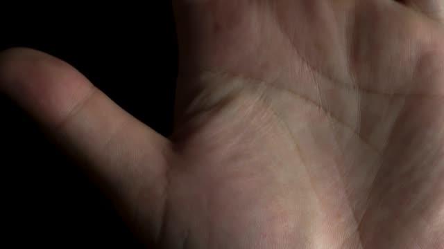 stockvideo's en b-roll-footage met 4 k beelden van palm hand op zwarte achtergrond - handpalm