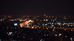 4k footage scene of blurred defocused light from traffic car and city life from top view at night time bokeh in Bangkok, Cityscape and Abstract Concept