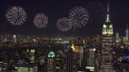 4k footage scene of Firework over New York Cityscape, United States, Independence day concept