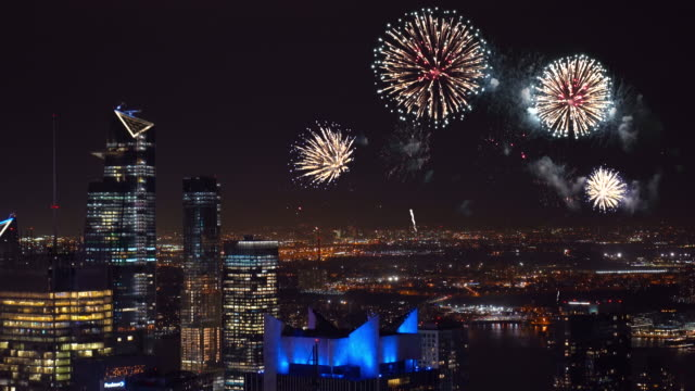 4k footage scene of firework over new york cityscape, united states, independence day concept - number 4 stock videos & royalty-free footage