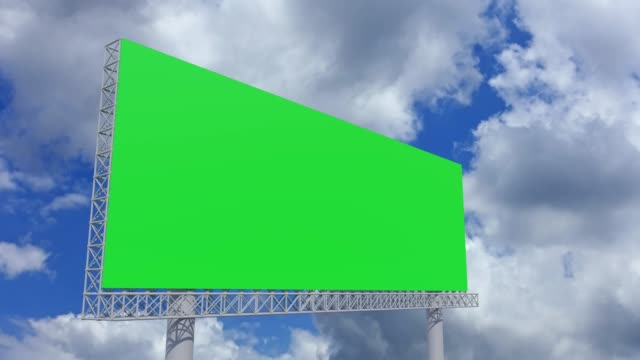 4k footage,empty billboard with chromakey green screen on time lapse cloud and blue sky.advertisement billboard concept. - digital signage stock videos & royalty-free footage