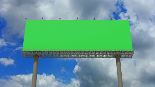 4k footage,empty billboard with chromakey green screen on time lapse cloud and blue sky.advertisement billboard concept. - commercial sign stock videos & royalty-free footage