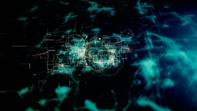 vídeos de stock e filmes b-roll de 4k futuristic network: artificial intelligence, global communication - axónio