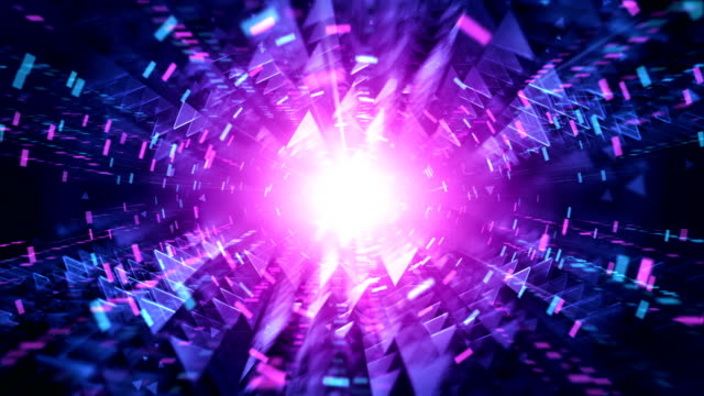 4k futuristic tunnel background (magenta / pink, blue) - loop - image effect stock videos & royalty-free footage