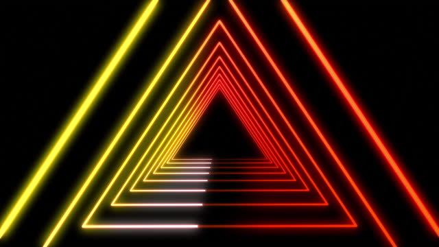 4k futuristic tunnel orange white yellow neon triangle background with glowing lines - orange colour stock videos & royalty-free footage