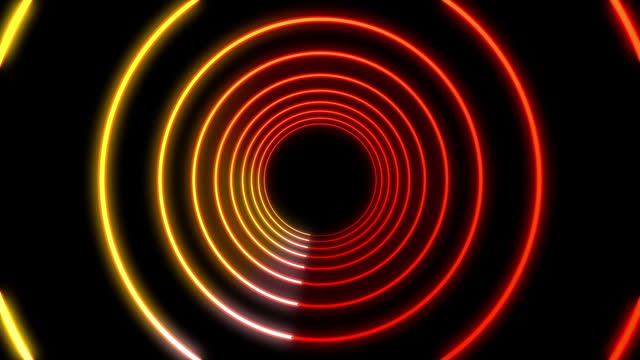 4k futuristic tunnel red orange neon background circle with glowing lines - orange colour stock videos & royalty-free footage