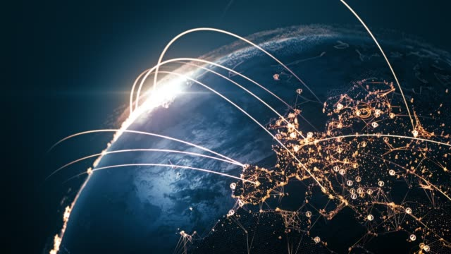 4k globe with connection lines (close up) - loopable after six seconds - international network / flight routes - global finance stock videos & royalty-free footage