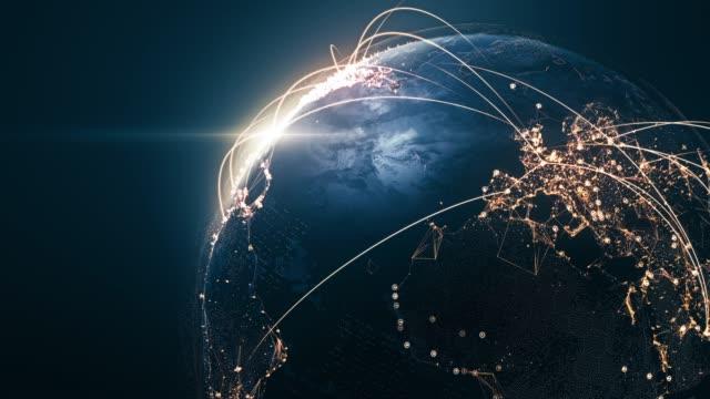 接続線付き4k グローブ-6 秒後のループ-国際ネットワーク/フライトルート - 地理的地域 国点の映像素材/bロール