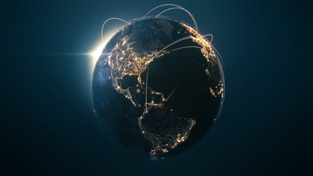 globo 4k con linee di connessione (centrato) - loopable dopo sei secondi - rete internazionale / rotte di volo - global communications video stock e b–roll
