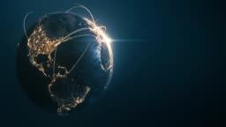 4k Globe With Connection Lines (Copy Space) - Loopable After Six Seconds - International Network / Flight Routes