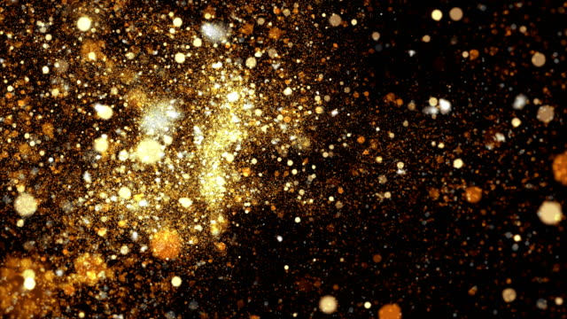 vídeos de stock e filmes b-roll de 4k gold particles background animation - prémio