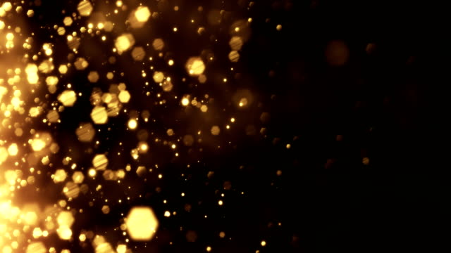 vídeos de stock e filmes b-roll de 4k gold particles horizontal movement - background animation - loopable - dourado cores