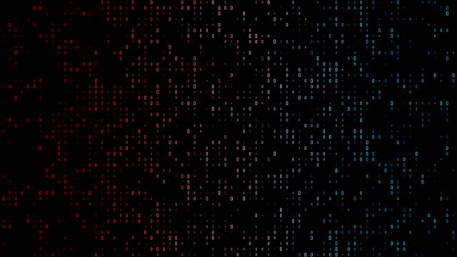 vídeos de stock e filmes b-roll de 4k gradient, colorful binary code with lots of the number zero glowing and fading out loopable background video on a black screen  for stock market and exchange, data, big data, business finance, communication, internet, virtual reality concepts - código binário