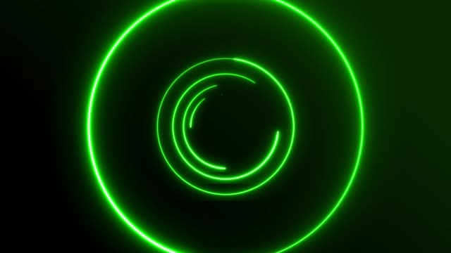 vídeos de stock e filmes b-roll de 4k green neon circle lights background - eletrónica
