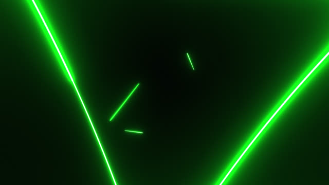 4k green neon triangle shape lights background - flash stock videos & royalty-free footage