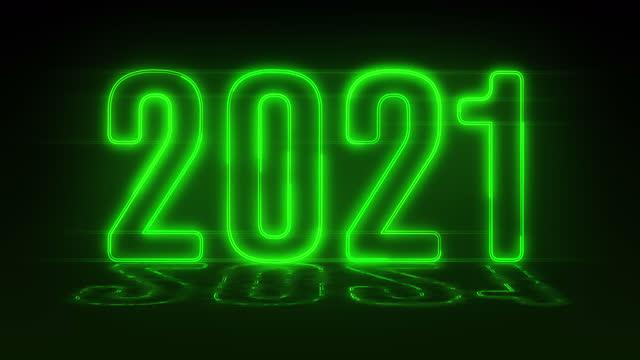 4k grün realistische neon 2021, glücklich 2021 neujahr neon banner - kalender stock-videos und b-roll-filmmaterial