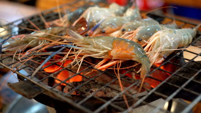 4k grilled shrimp or burn shrimp on the grill - scampi seafood stock videos and b-roll footage