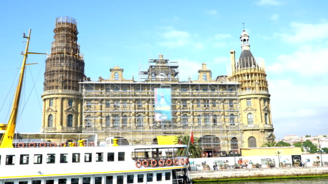 4k: haydarpasa train station from the sea, istanbul, turkey. - anatolia stock videos and b-roll footage