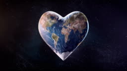 4k Heart-Shaped Earth (Space Background) - Loop