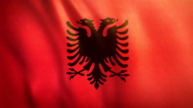 4k Highly Detailed Flag Of Albania - Loopable