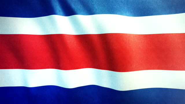 4k highly detailed flag of costa rica - loopable - costa rica stock videos and b-roll footage