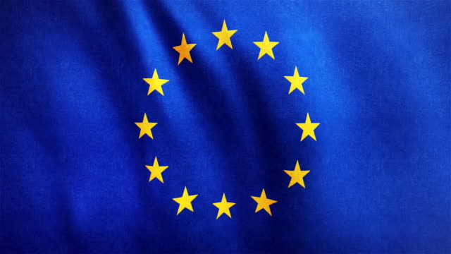 4k highly detailed flag of europe - loopable - euro symbol stock videos and b-roll footage