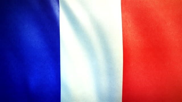 4k highly detailed flag of france - loopable - flag blowing in the wind stock videos & royalty-free footage