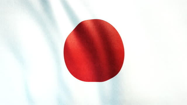 4k highly detailed flag of japan - loopable - japan flag stock videos & royalty-free footage