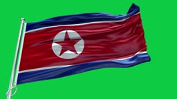 4k Highly Detailed Flag Of Korea North - Korea North Flag High Detail - National flag Korea North wave Pattern loopable Elements