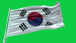 4k Highly Detailed Flag Of Korea South - Korea South Flag High Detail - National flag Korea South wave Pattern loopable Elements