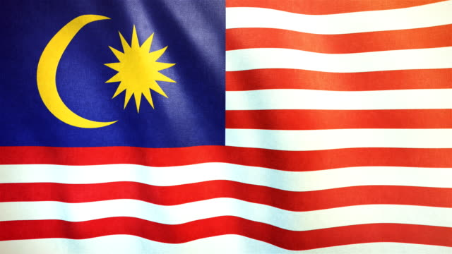 4k highly detailed flag of malaysia - loopable - malaysian culture stock videos and b-roll footage