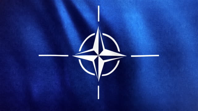4k highly detailed flag of nato - loopable - nato stock videos & royalty-free footage