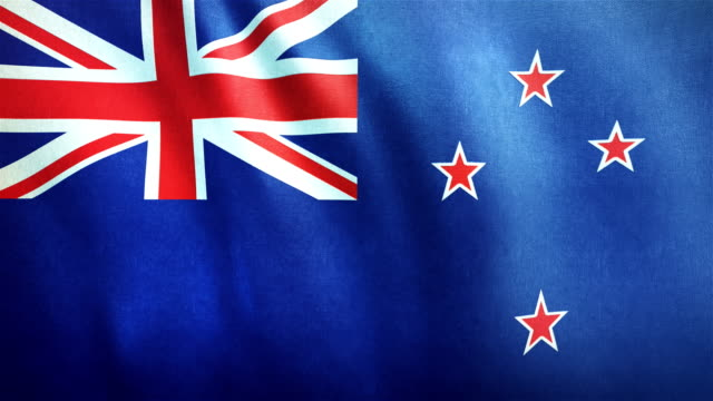 4k highly detailed flag of new zealand - loopable - new zealand stock videos & royalty-free footage