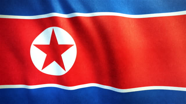 4k highly detailed flag of north korea - loopable - north korea stock videos & royalty-free footage