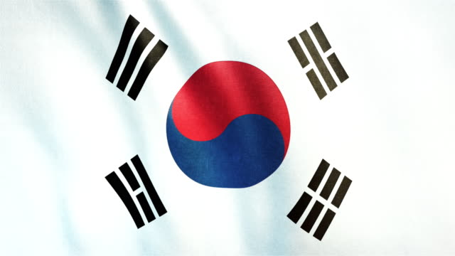4k highly detailed flag of south korea - loopable - flag stock videos & royalty-free footage