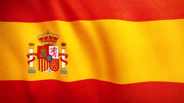 4k highly detailed flag of spain - loopable - flag stock videos & royalty-free footage