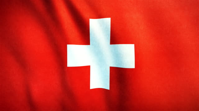 vídeos de stock e filmes b-roll de 4k highly detailed flag of switzerland - loopable - suíça