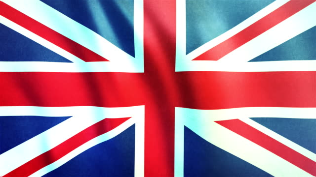 4k highly detailed flag of the united kingdom (union jack) - loopable - bandiera del regno unito video stock e b–roll