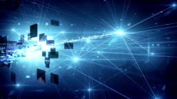 4k Highly Detailed Neural Network, Cloud Computing, Data Processing (Blue) - Loop