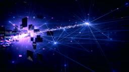 4k Highly Detailed Neural Network, Cloud Computing, Data Processing (Purple) - Loop