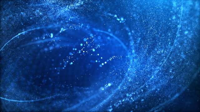4k highly detailed particle stream - loop (blue) - swirl pattern stock videos & royalty-free footage
