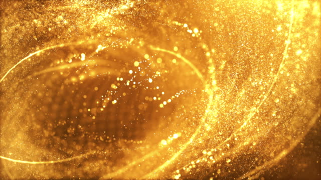 4k highly detailed particle stream - loop (gold) - swirl pattern stock videos & royalty-free footage