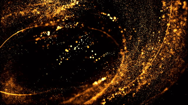 vídeos de stock e filmes b-roll de 4k highly detailed particle stream - loop (gold & black) - espiral