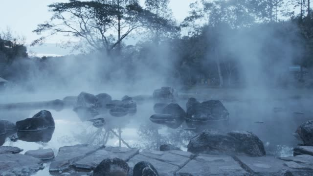 4k , Hot spring water in early morning