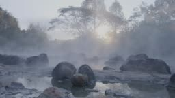 4k, Hot spring water in sunrise