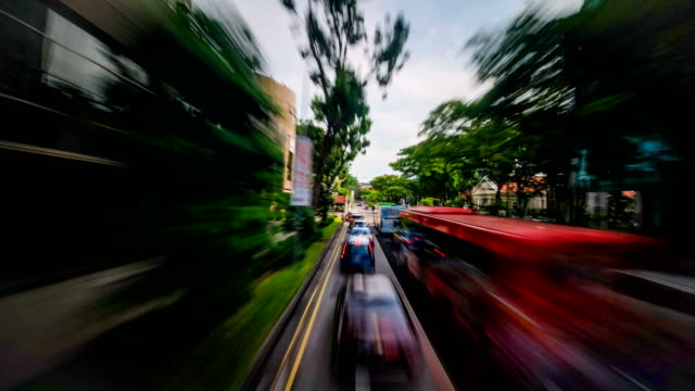 4k hyperlapse of motion blur driving in business district