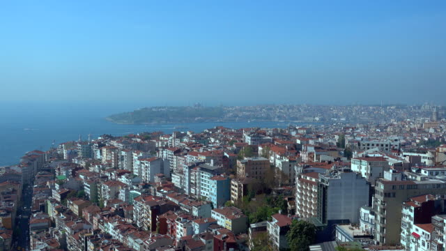 4k Istanbul Bosphorus - Galata Tower and Hagia Sophia Aerial View