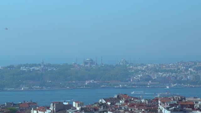 4k istanbul bosphorus - hagia sophia and topkapı palace aerial view - topkapi palace stock videos and b-roll footage