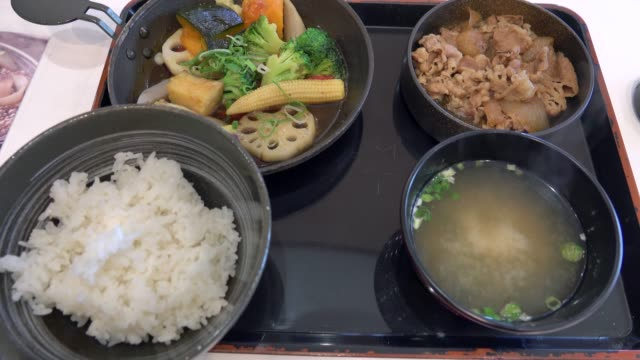 4k: japanese food - donburi stock videos and b-roll footage
