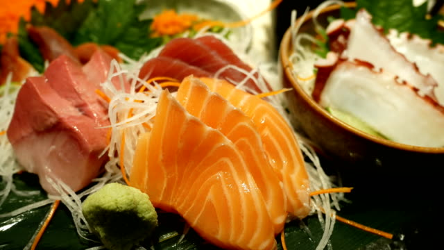 4k japanese foods sashimi - sashimi stock videos & royalty-free footage